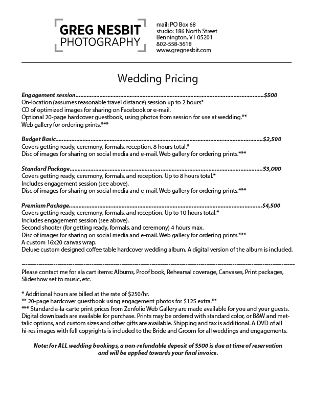 Wedding Pricelist